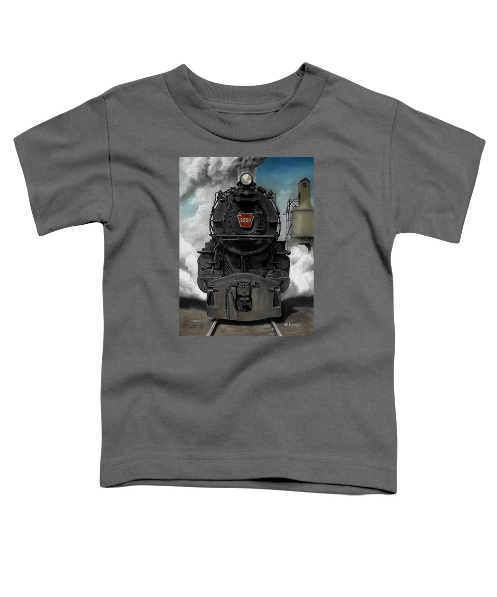 Trains Toddler T-Shirt featuring the painting Smoke And Steam by David Mittner