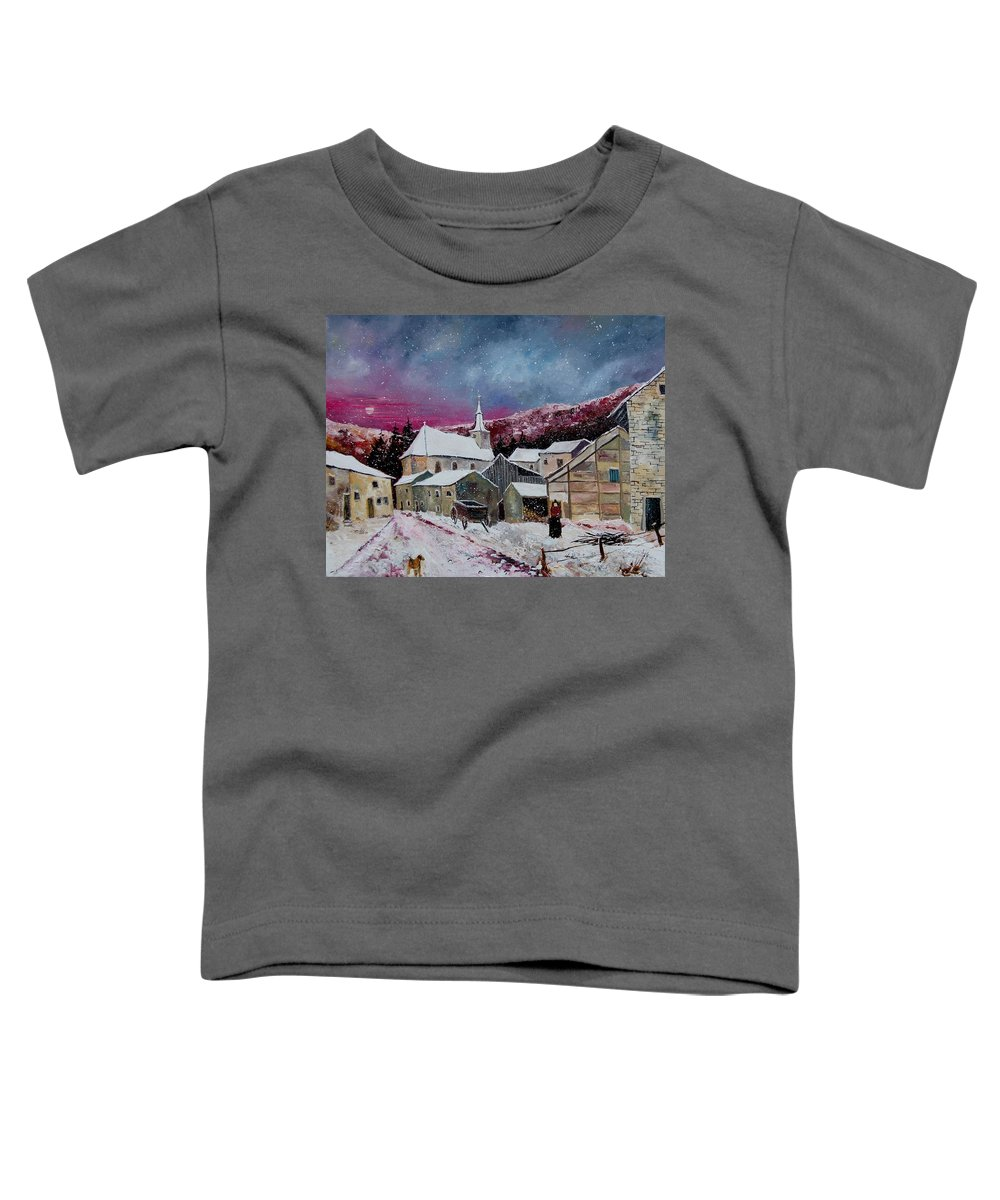 Snow Toddler T-Shirt featuring the painting Snow Is Falling by Pol Ledent