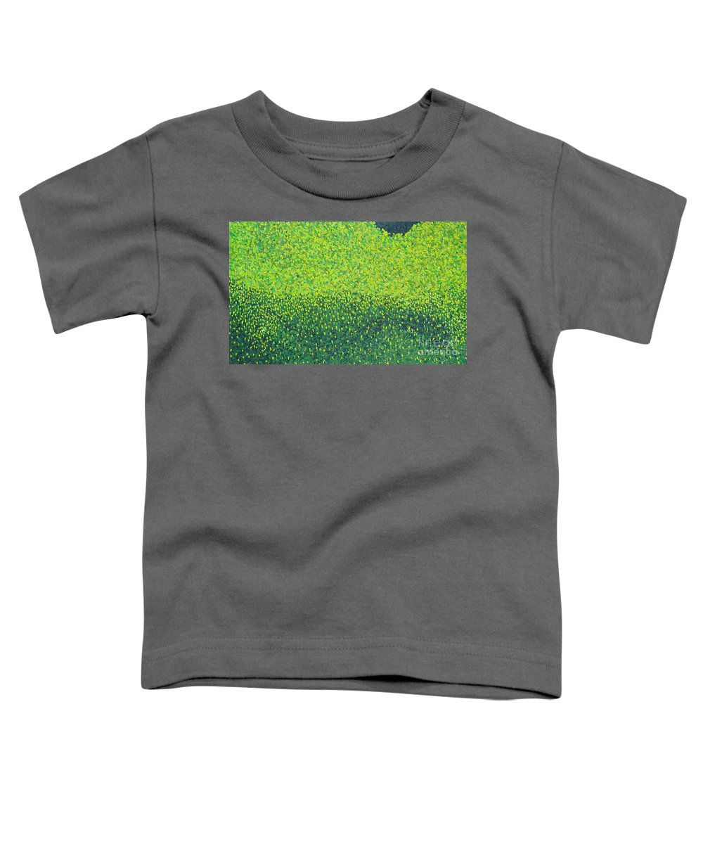 Abstract Toddler T-Shirt featuring the painting Soft Green Wet Trees by Dean Triolo