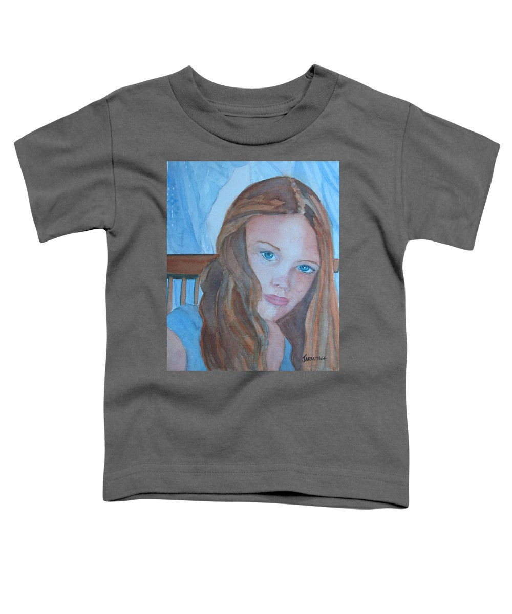 Girls Toddler T-Shirt featuring the painting Soft Steel by Jenny Armitage