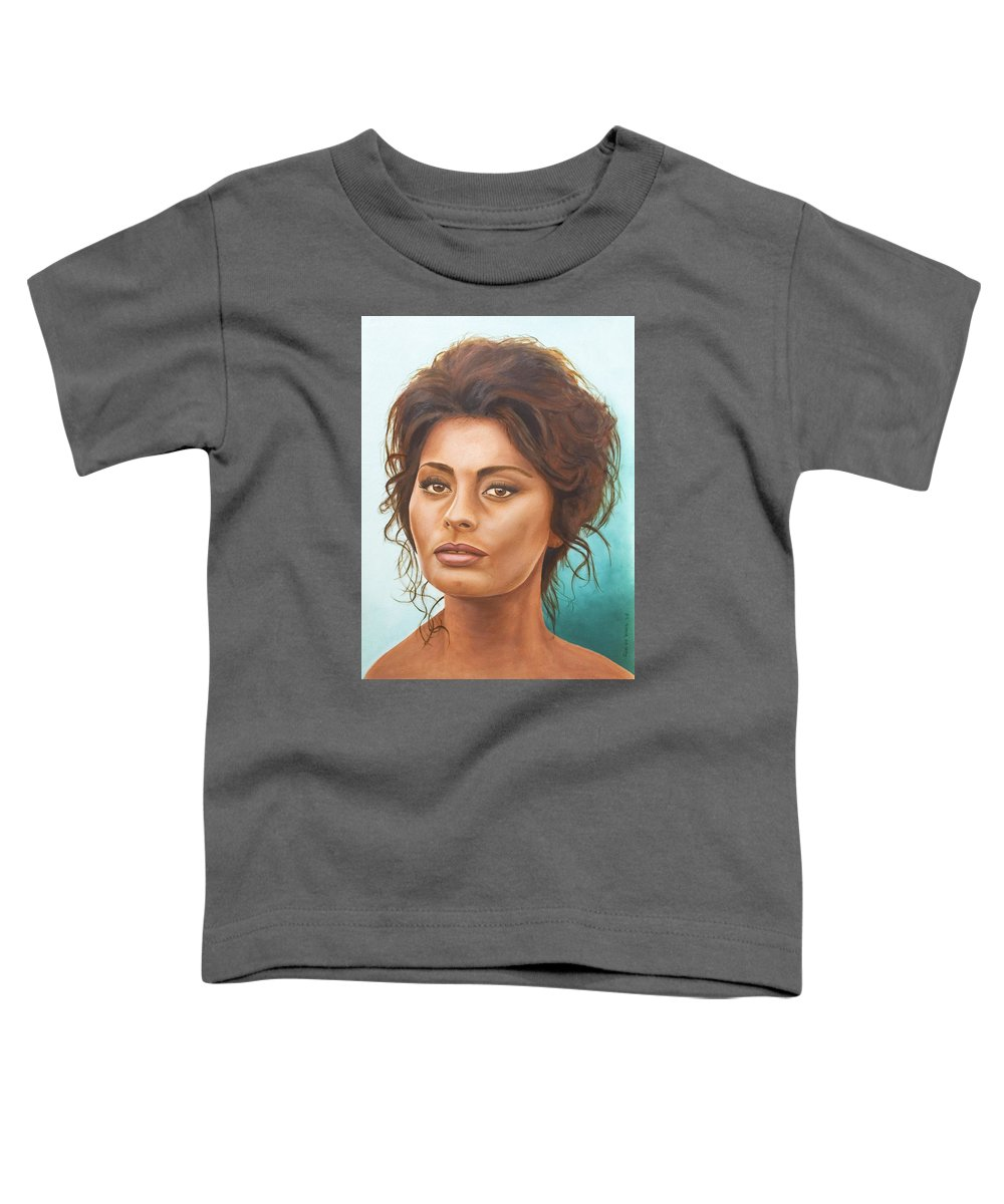 Moviestar Toddler T-Shirt featuring the painting Sophia Loren by Rob De Vries