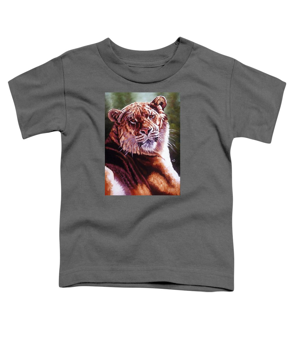 Hybrid Toddler T-Shirt featuring the painting Sophie The Liger by Barbara Keith