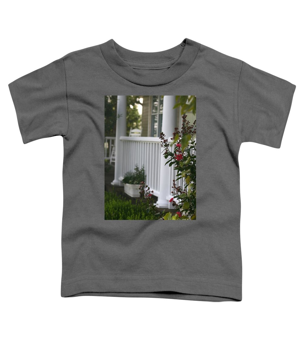 Summer Toddler T-Shirt featuring the photograph Southern Summer Flowers And Porch by Nadine Rippelmeyer