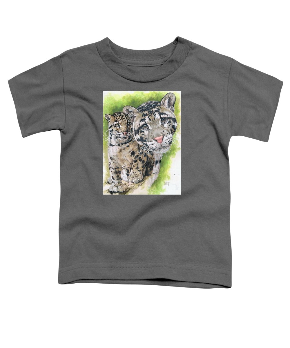 Clouded Leopard Toddler T-Shirt featuring the mixed media Sovereignty by Barbara Keith