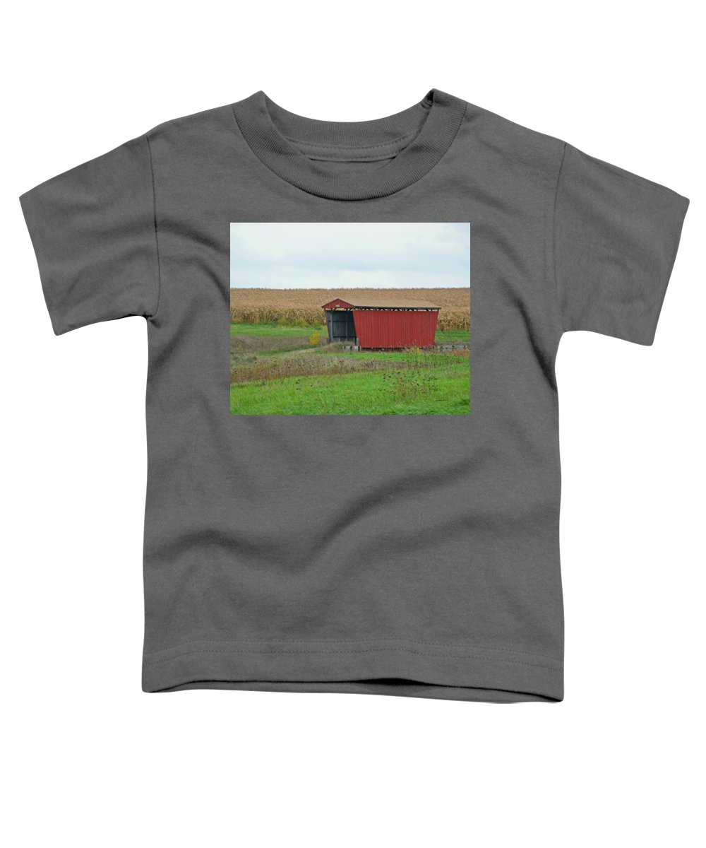 I Have Always Loved Covered Bridges But The First Time I Saw This Beautiful Bridge Toddler T-Shirt featuring the photograph Splinter Covered Bridge by Kathy M Krause