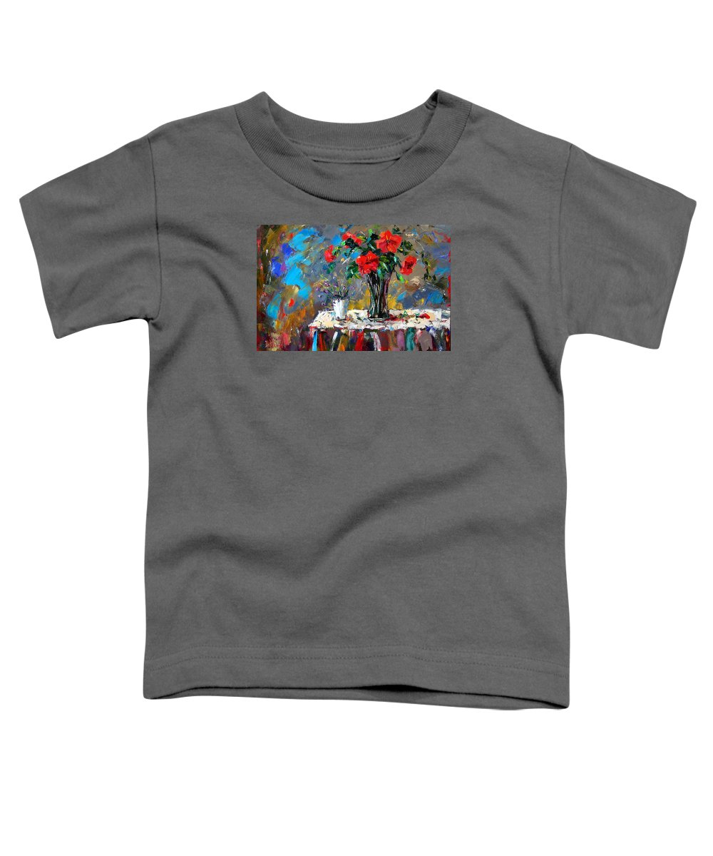 Flowers Toddler T-Shirt featuring the painting Spring Blooms by Debra Hurd