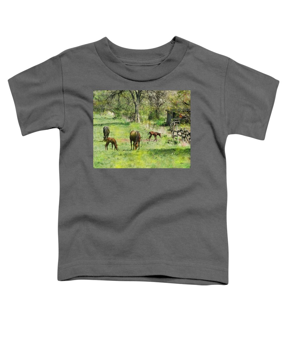 Spring Colts Toddler T-Shirt featuring the digital art Spring Colts by John Beck
