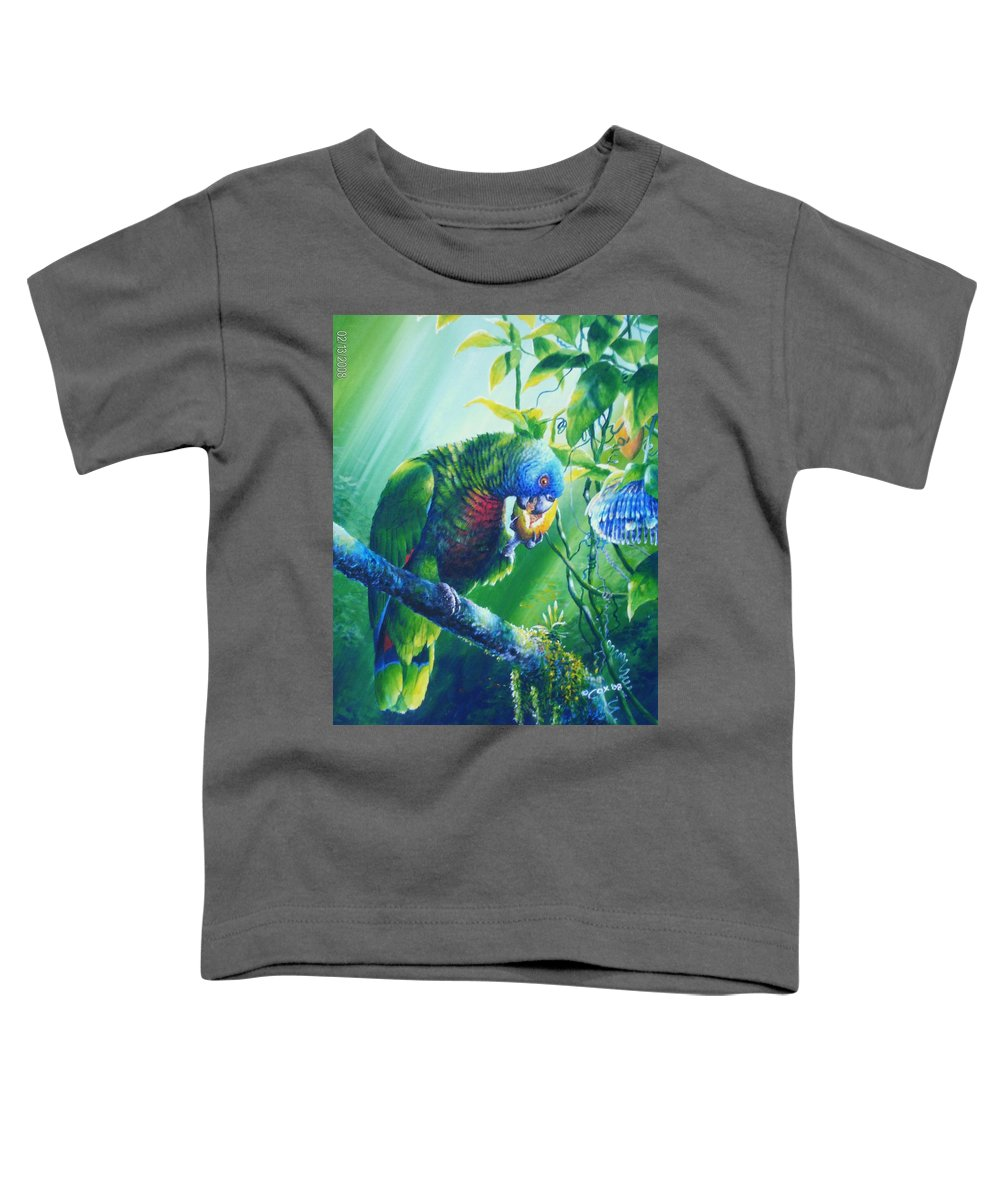Chris Cox Toddler T-Shirt featuring the painting St. Lucia Parrot And Wild Passionfruit by Christopher Cox