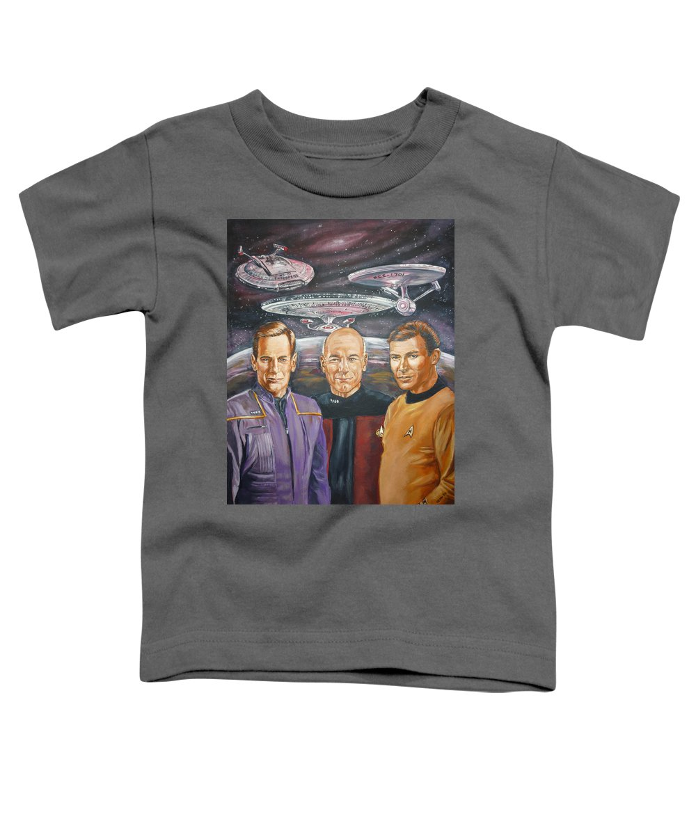 Star Trek Toddler T-Shirt featuring the painting Star Trek Tribute Enterprise Captains by Bryan Bustard