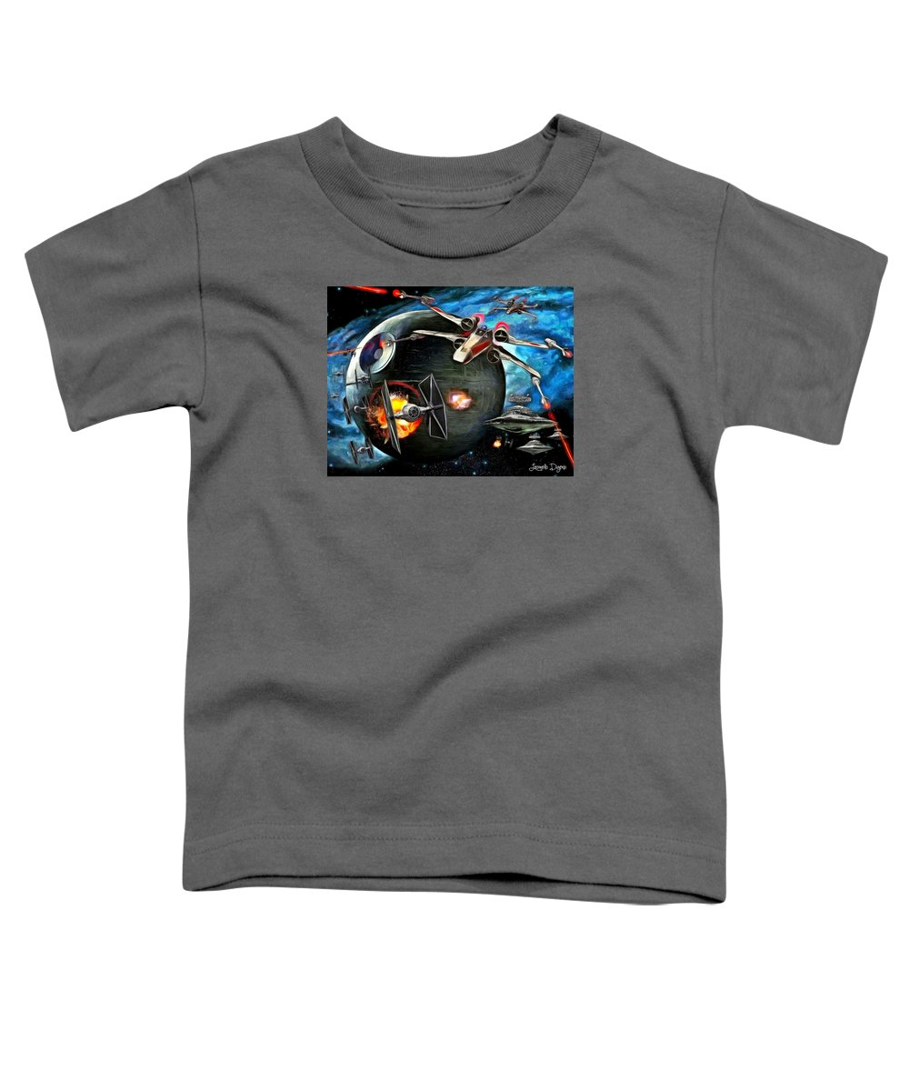 Star Wars 7 Toddler T-Shirt featuring the painting Star Wars Worlds At War by Leonardo Digenio