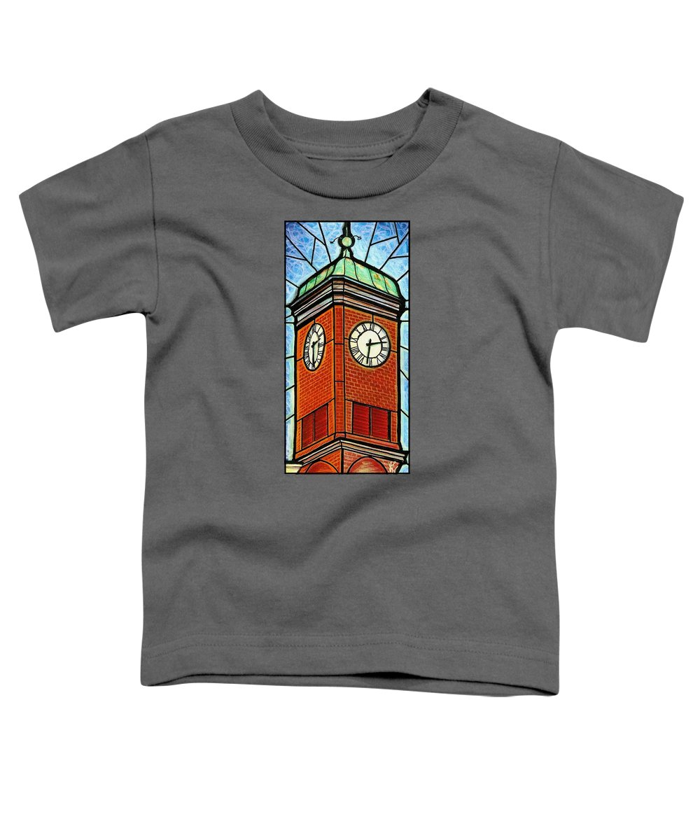 Clocks Toddler T-Shirt featuring the painting Staunton Clock Tower Landmark by Jim Harris