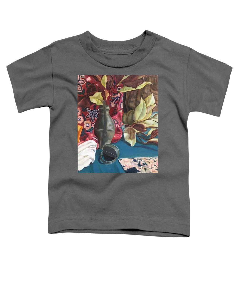 Still-life Toddler T-Shirt featuring the painting Still-life With Magnolia Leaves by Piety Choi