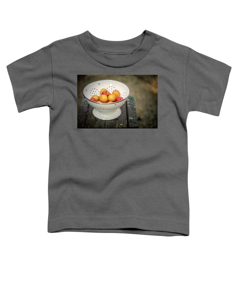 Still Life Toddler T-Shirt featuring the photograph Still Life With Yellow Plums by Nailia Schwarz