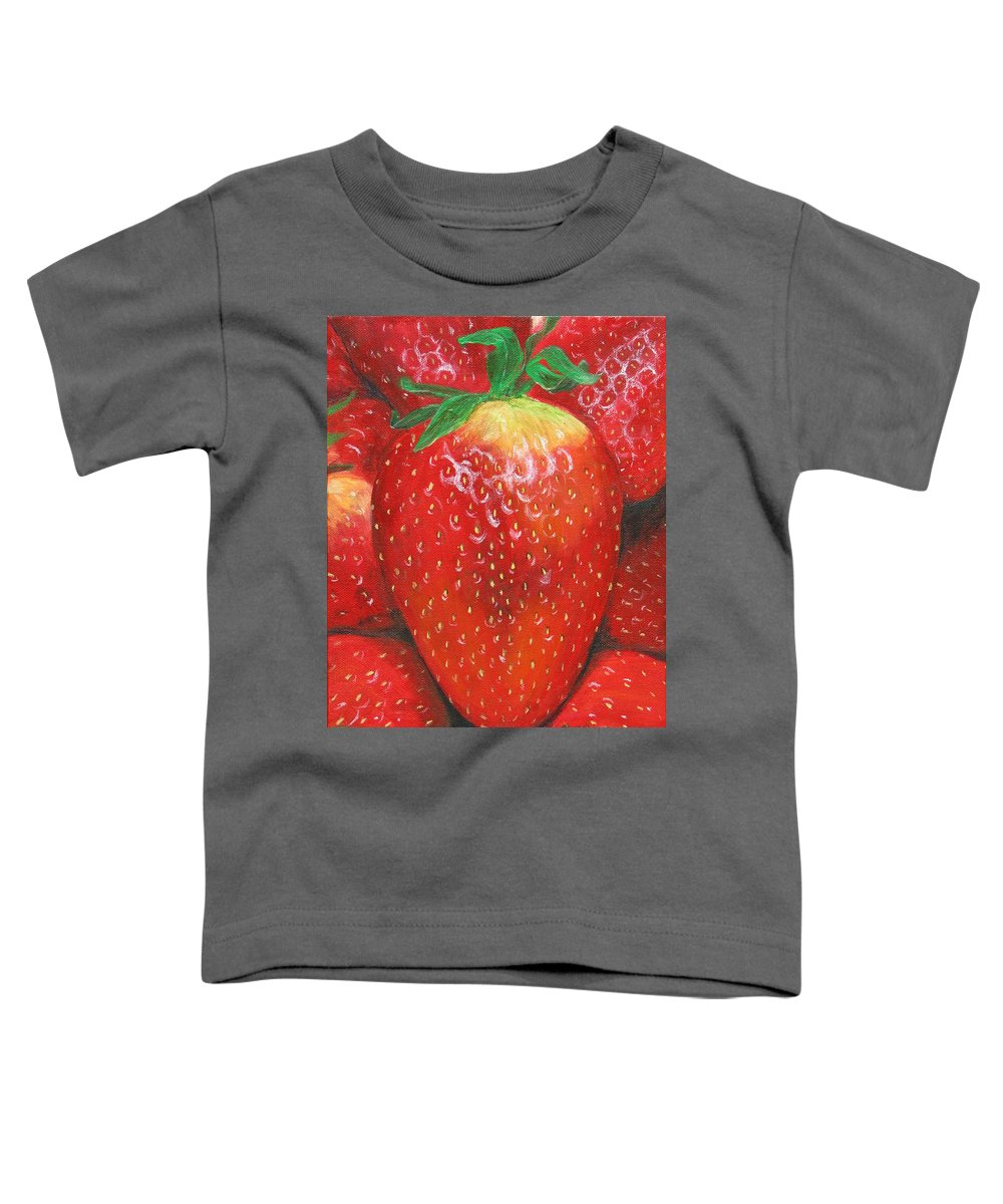 Strawberries Toddler T-Shirt featuring the painting Strawberries by Nancy Nale