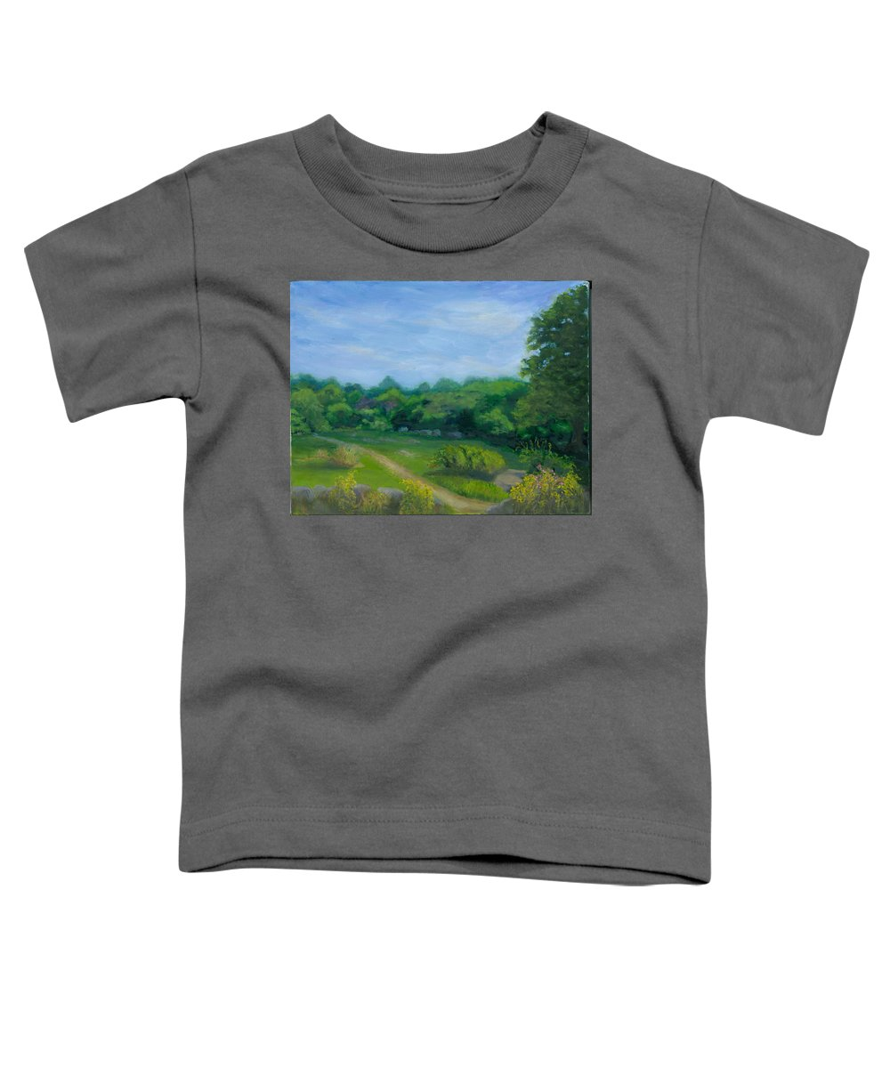 Landscape Toddler T-Shirt featuring the painting Summer Afternoon At Ashlawn Farm by Paula Emery