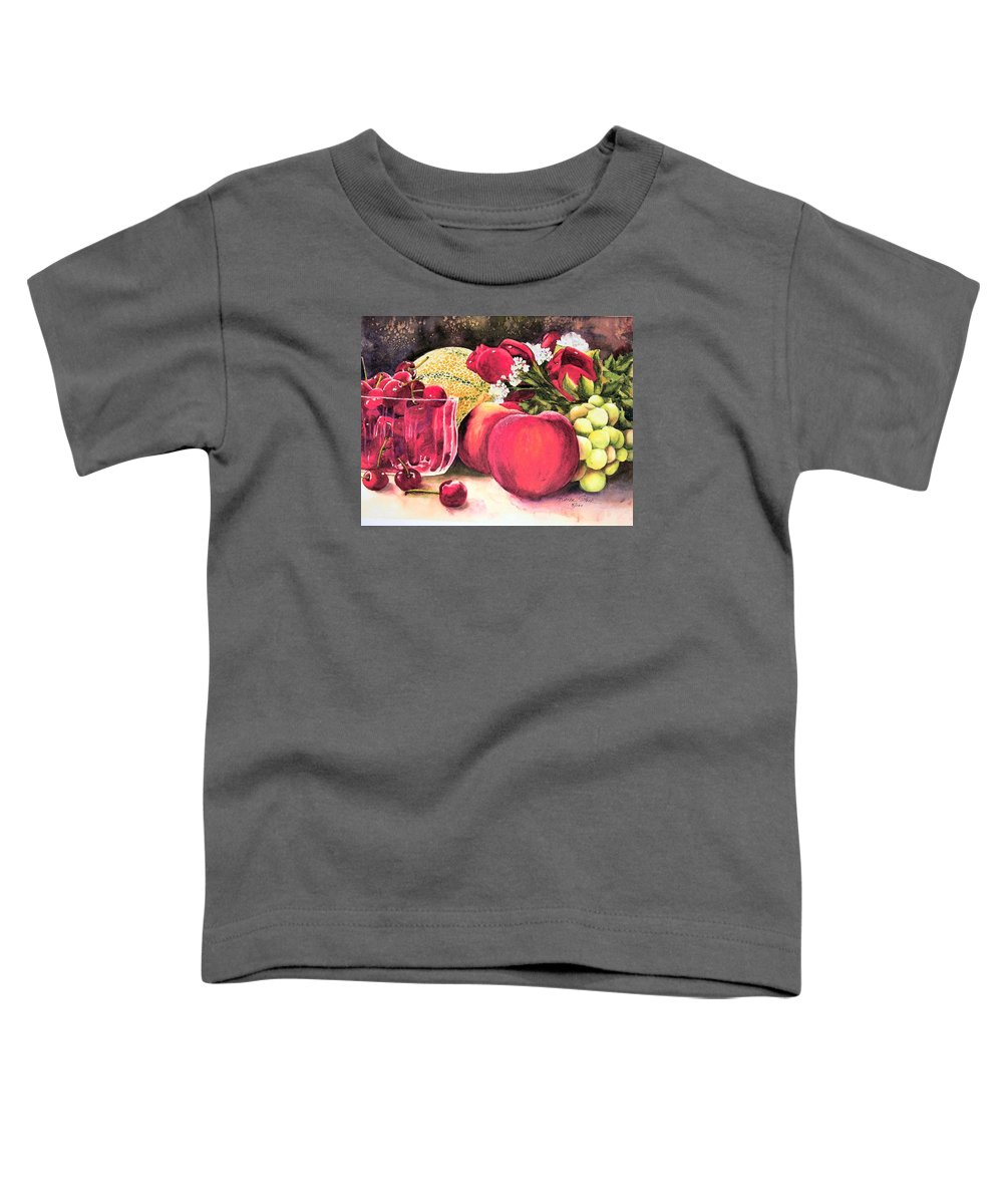 Cherries Toddler T-Shirt featuring the painting Summer Bounty by Karen Stark