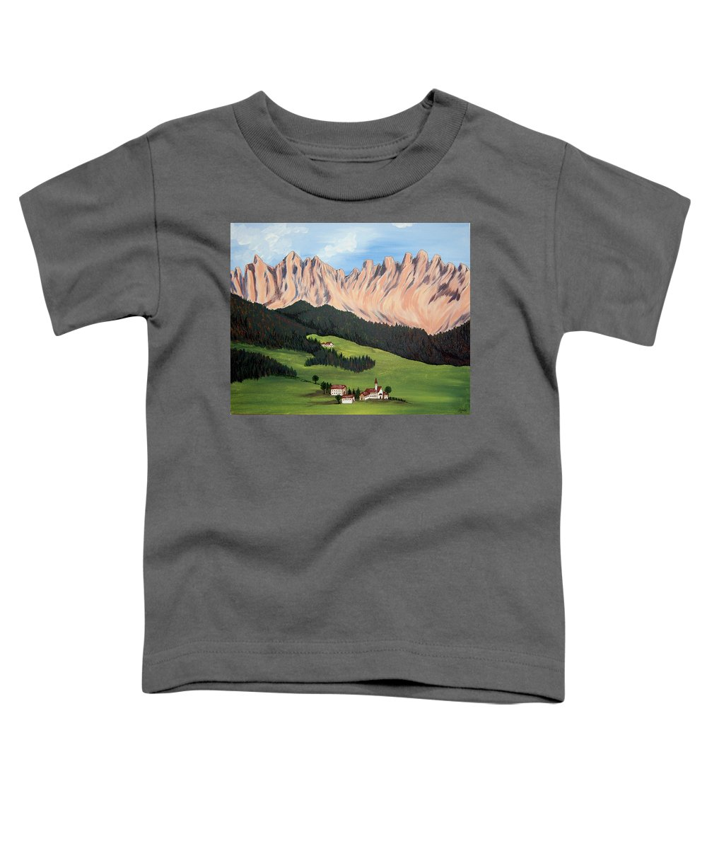 Landscape Toddler T-Shirt featuring the painting Summer In Switzerland by Marco Morales