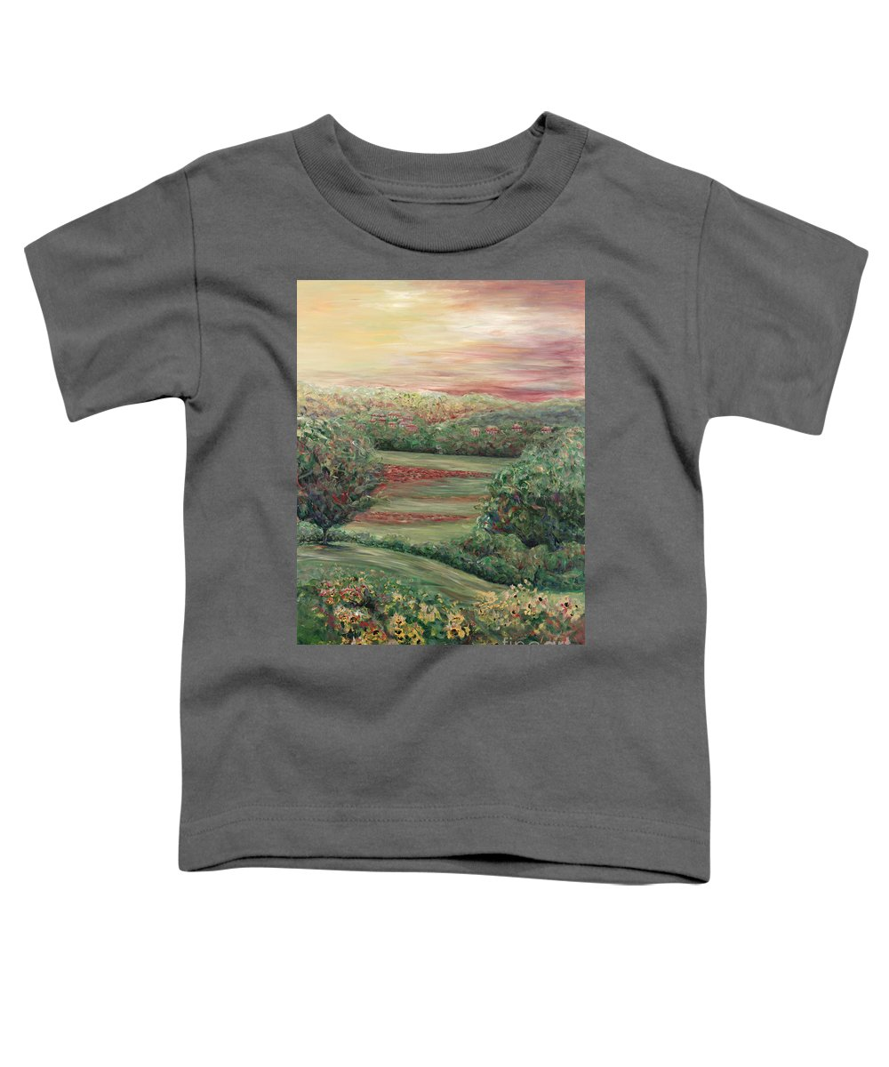 Landscape Toddler T-Shirt featuring the painting Summer In Tuscany by Nadine Rippelmeyer