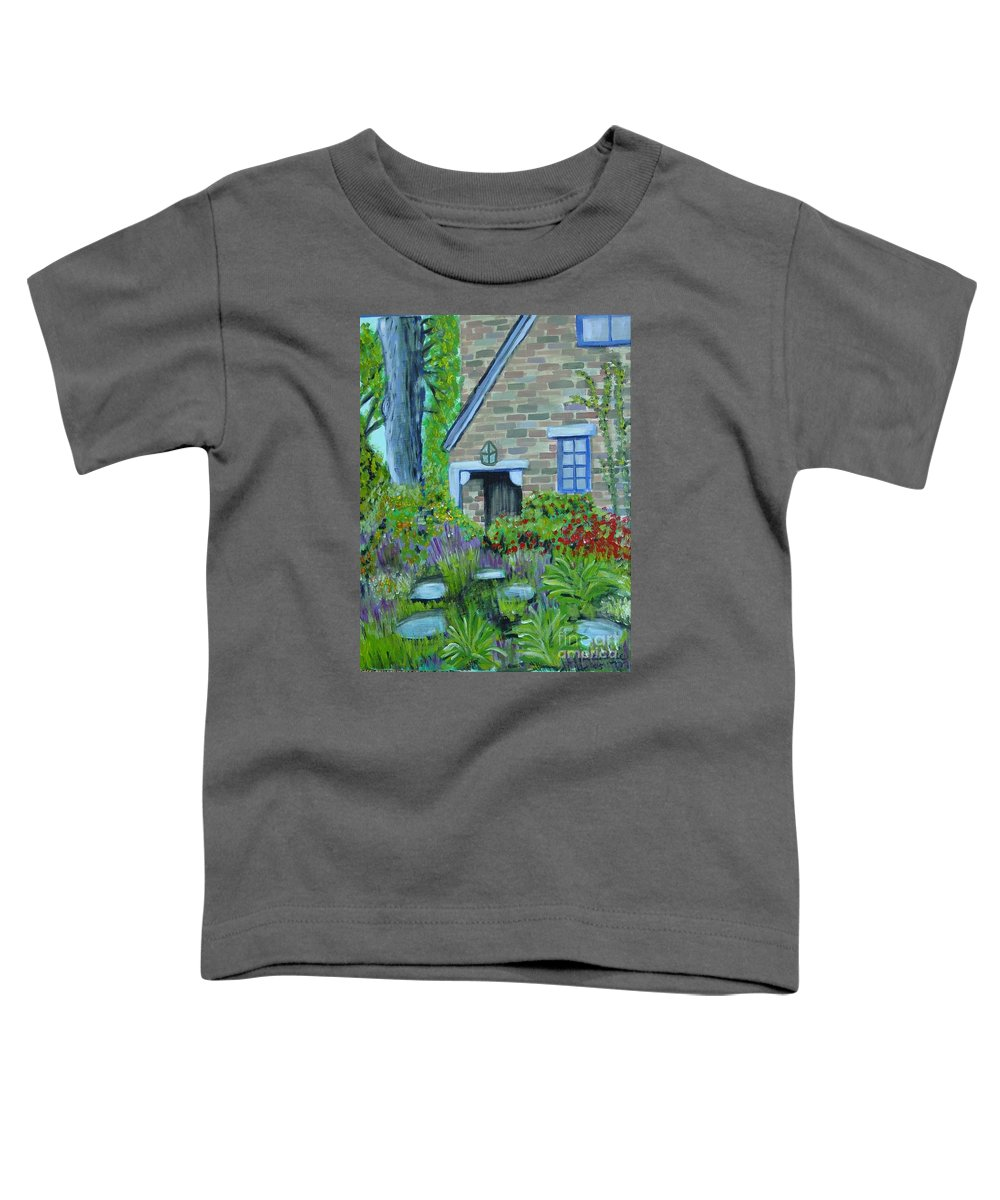 Cottage Toddler T-Shirt featuring the painting Summer Retreat by Laurie Morgan