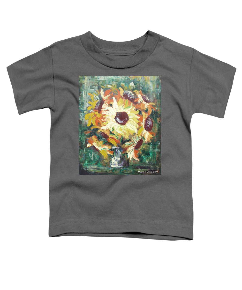 Sunflowers Toddler T-Shirt featuring the painting Sun In A Vase by Gina De Gorna