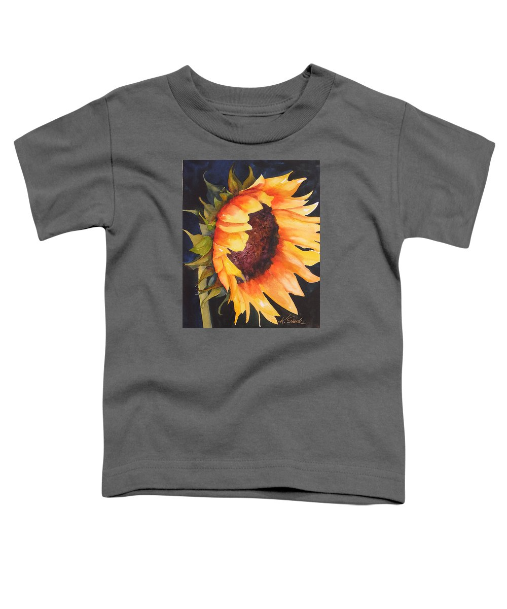 Floral Toddler T-Shirt featuring the painting Sunflower by Karen Stark