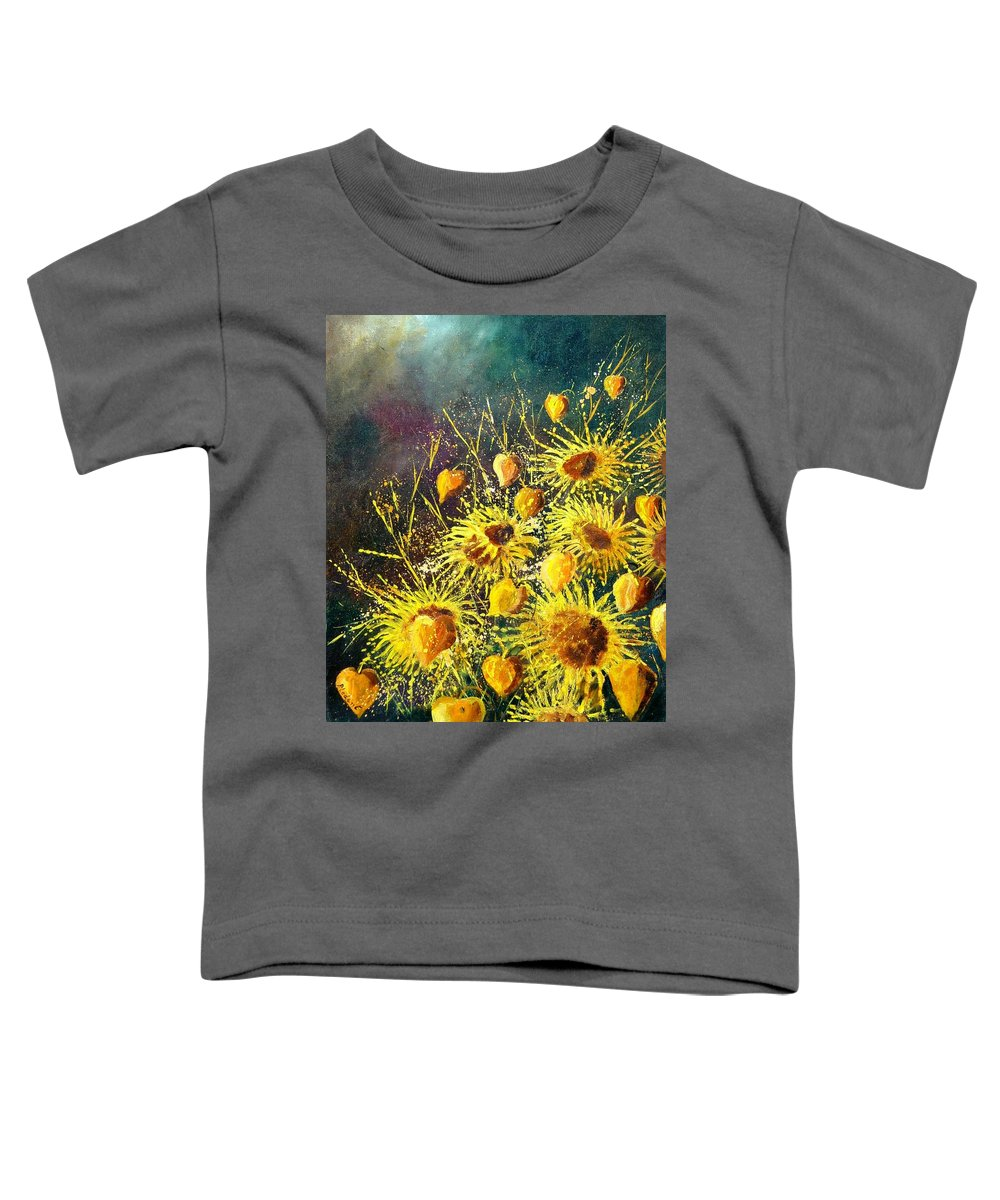 Flowers Toddler T-Shirt featuring the painting Sunflowers by Pol Ledent