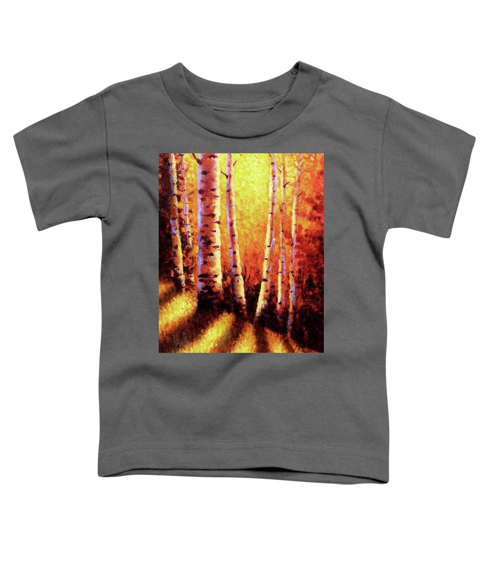 Sunlight Toddler T-Shirt featuring the painting Sunlight Through The Aspens by David G Paul