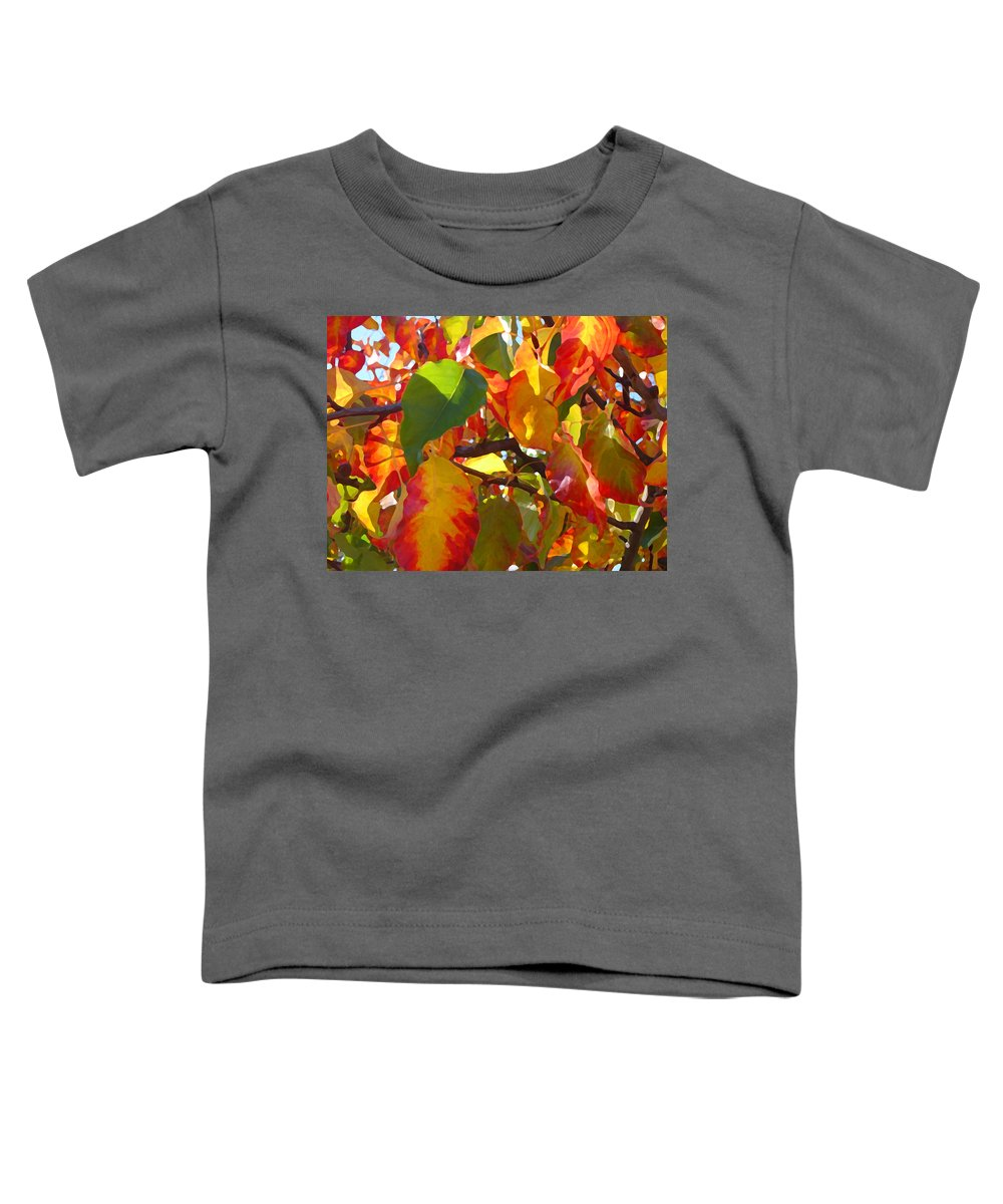 Fall Leaves Toddler T-Shirt featuring the photograph Sunlit Fall Leaves by Amy Vangsgard