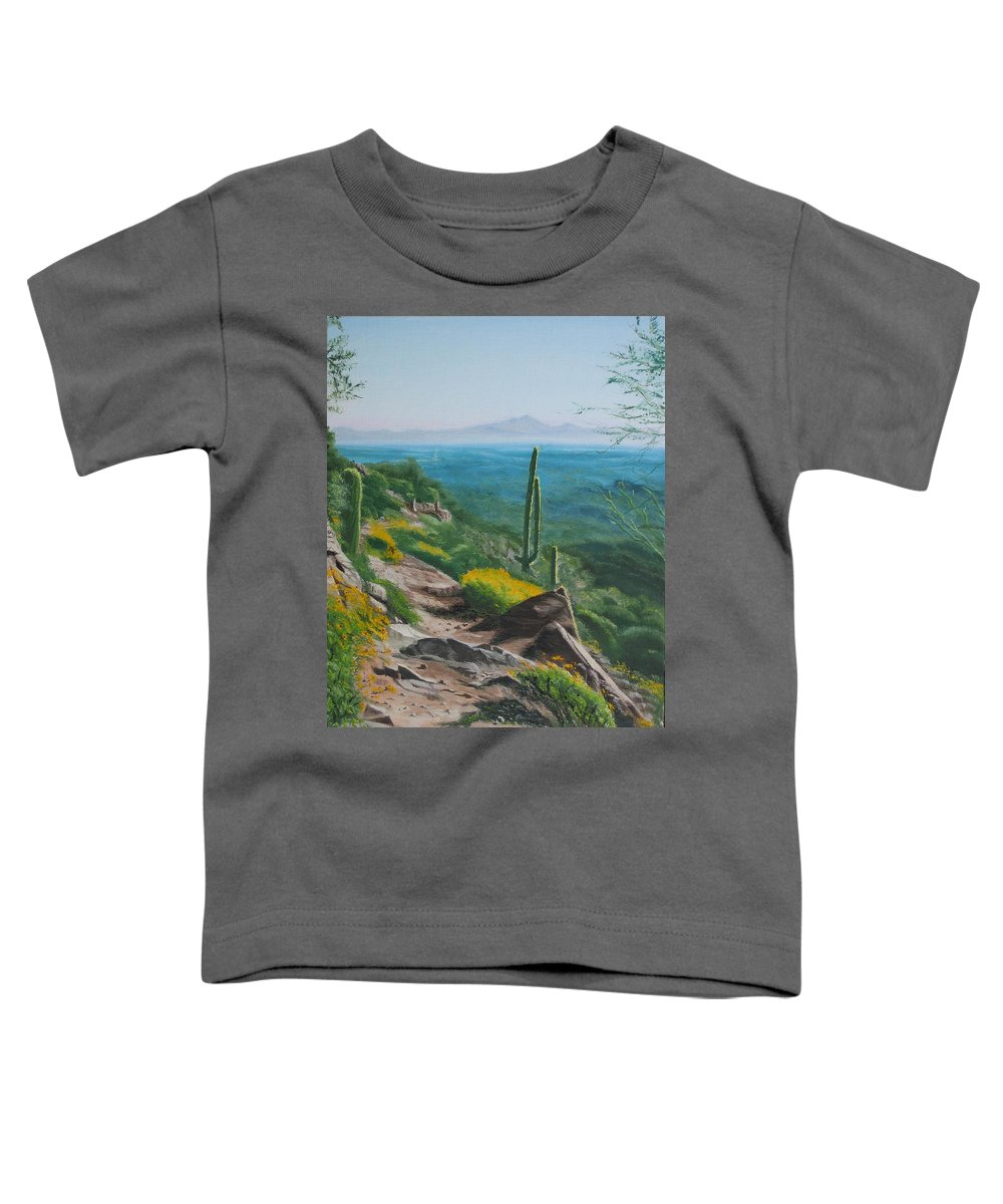 Landscape Toddler T-Shirt featuring the painting Sunrise Trail by Lea Novak