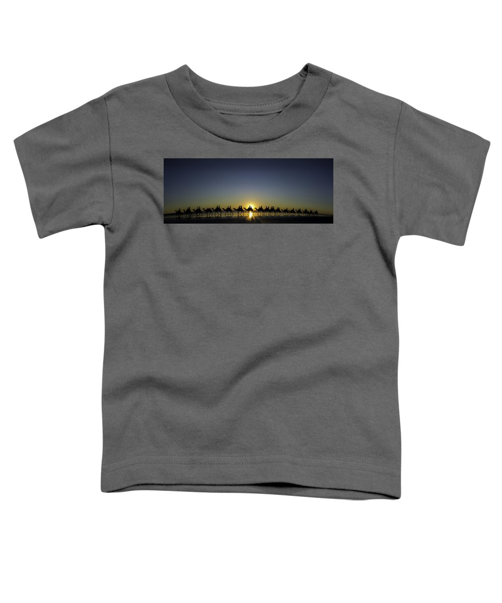 Broome Toddler T-Shirt featuring the photograph Sunset At Cable Beach by Chris Cousins
