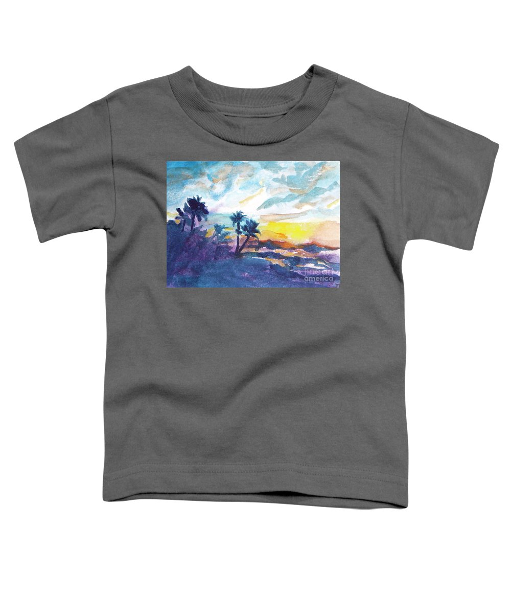 Landscape Toddler T-Shirt featuring the painting Sunset In Hawaii by Jan Bennicoff