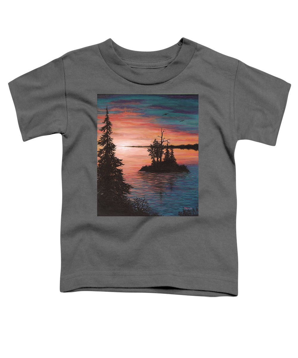 Sunset Toddler T-Shirt featuring the painting Sunset Island by Roz Eve
