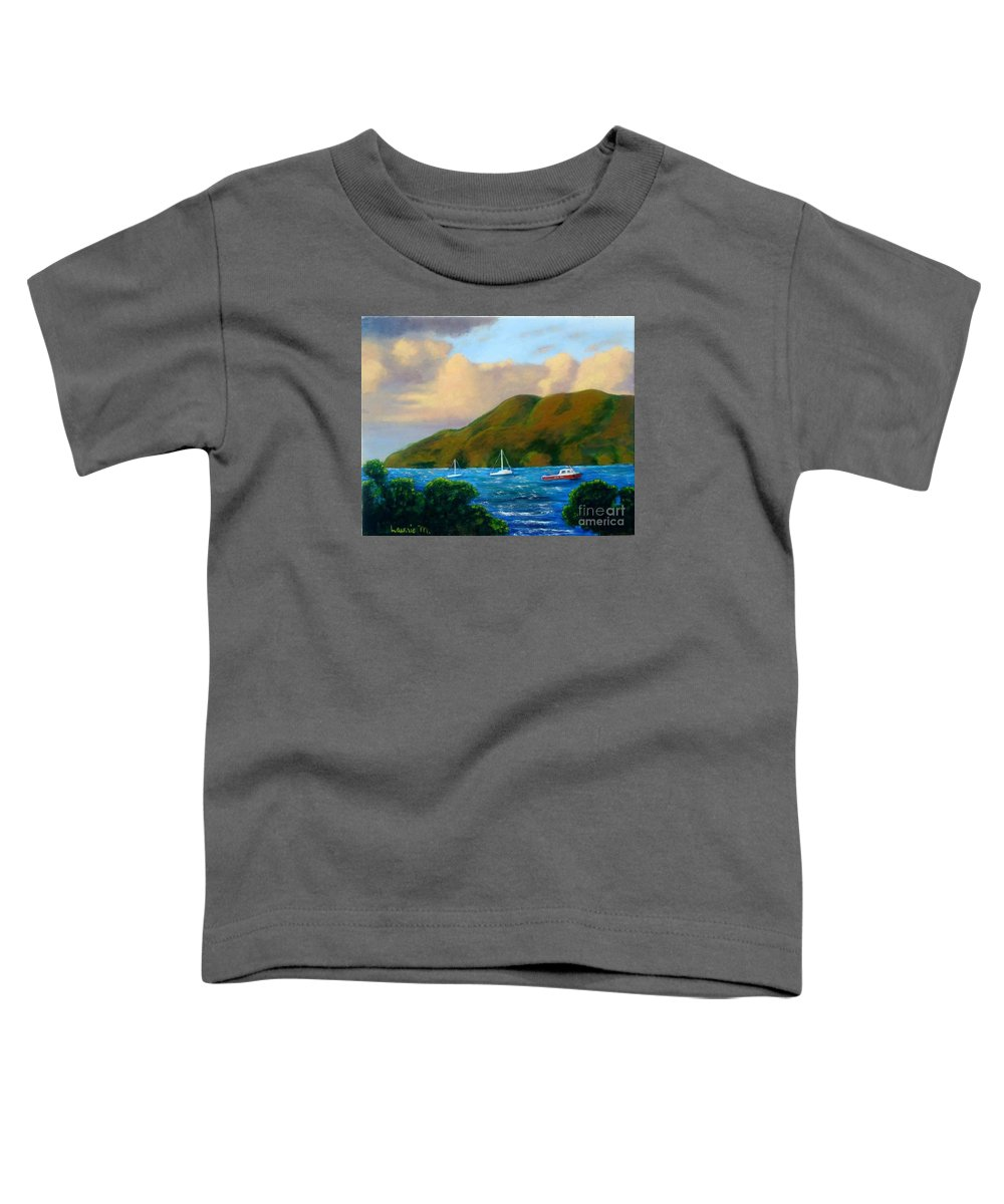 Sunset Toddler T-Shirt featuring the painting Sunset On Cruz Bay by Laurie Morgan