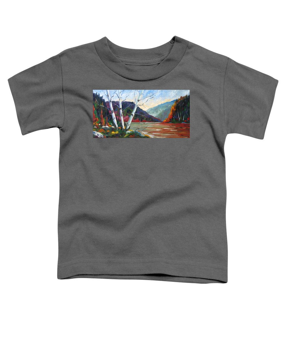 Landscape; Landscapes/scenic; Birches;sun;lake;pranke Toddler T-Shirt featuring the painting Sunset On The Lake by Richard T Pranke