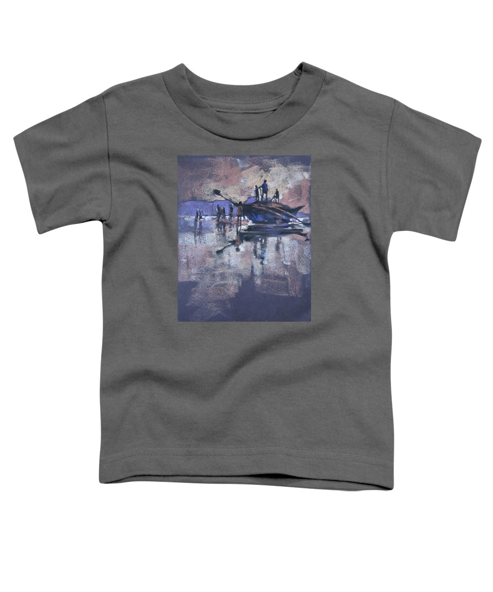 Beach Toddler T-Shirt featuring the painting Sunset by Snehal Page