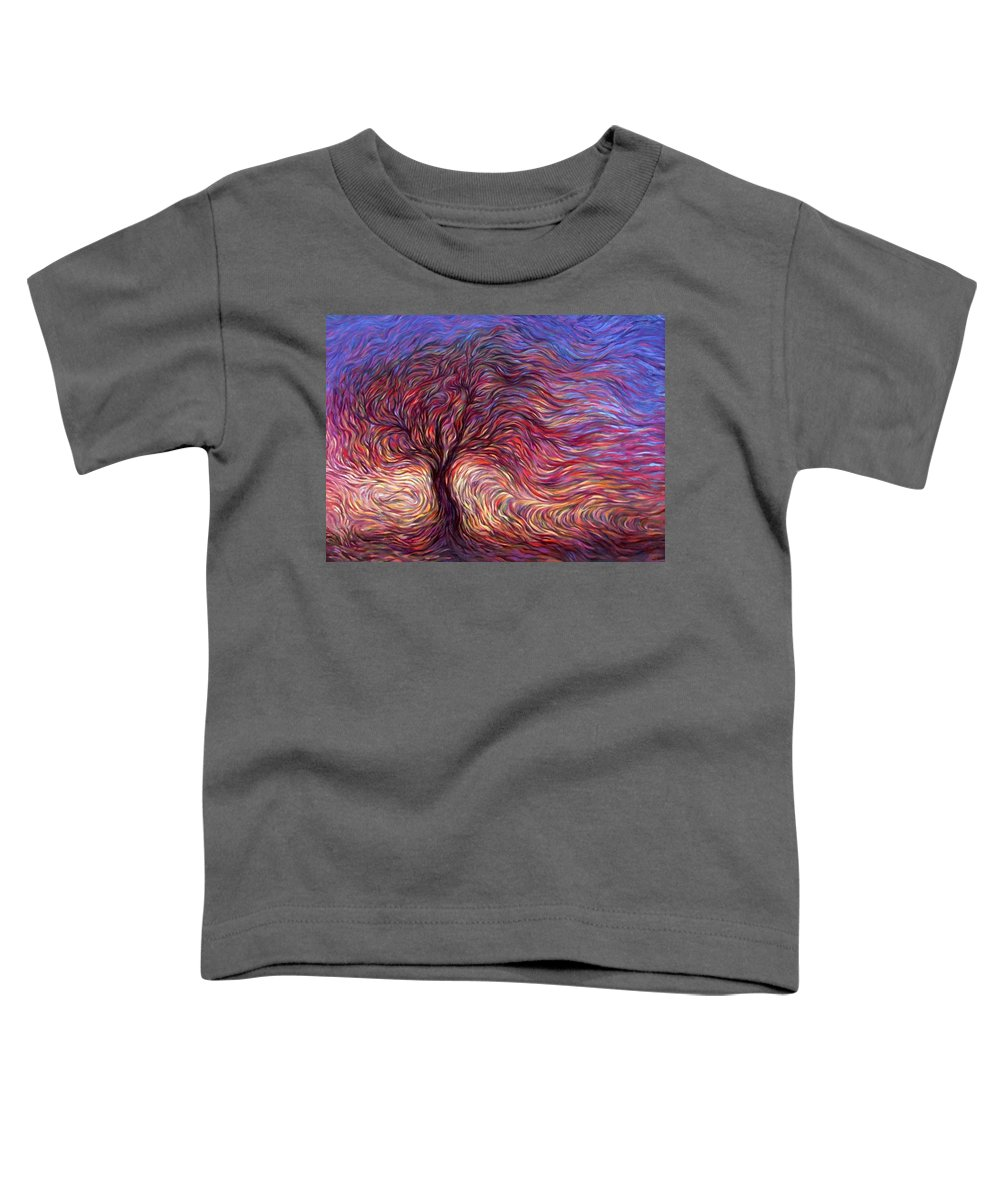 Tree Toddler T-Shirt featuring the painting Sunset Tree by Hans Droog