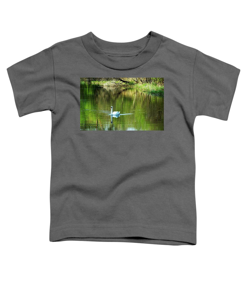 Irish Toddler T-Shirt featuring the photograph Swan On The Cong River Cong Ireland by Teresa Mucha