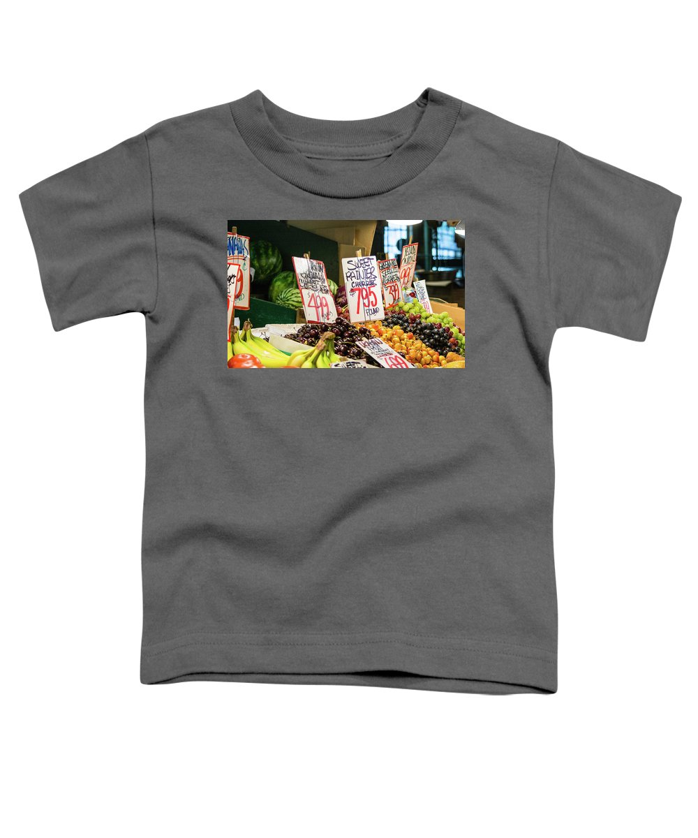 Pike Place Market Toddler T-Shirt featuring the photograph Sweet Rainier Cherries by Robert Briggs