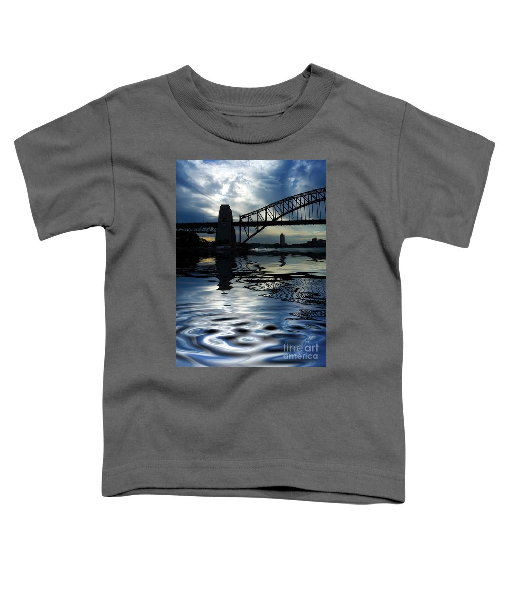 Sydney Harbour Australia Bridge Reflection Toddler T-Shirt featuring the photograph Sydney Harbour Bridge Reflection by Avalon Fine Art Photography