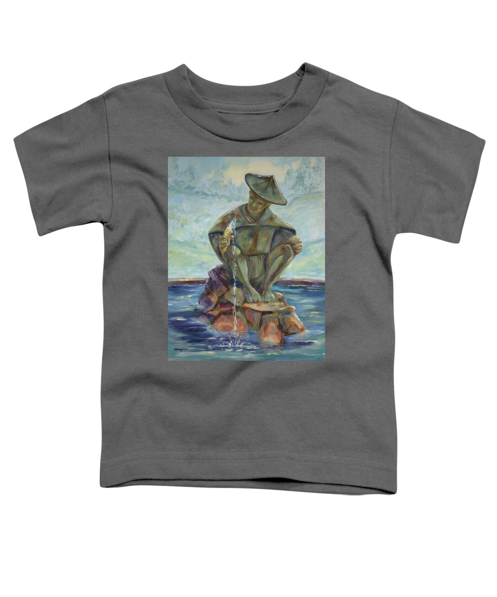Landscape Toddler T-Shirt featuring the painting Taipei Fountain by Ginger Concepcion
