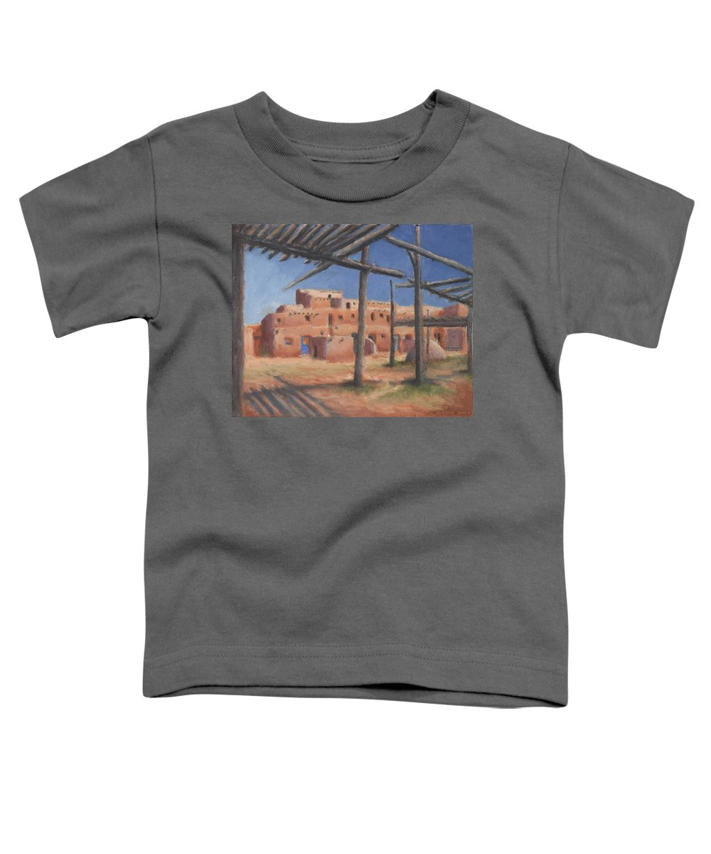 Taos Toddler T-Shirt featuring the painting Taos Pueblo by Jerry McElroy