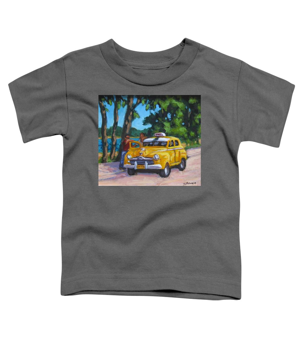Old Cars Toddler T-Shirt featuring the painting Taxi Y Amigos by John Malone