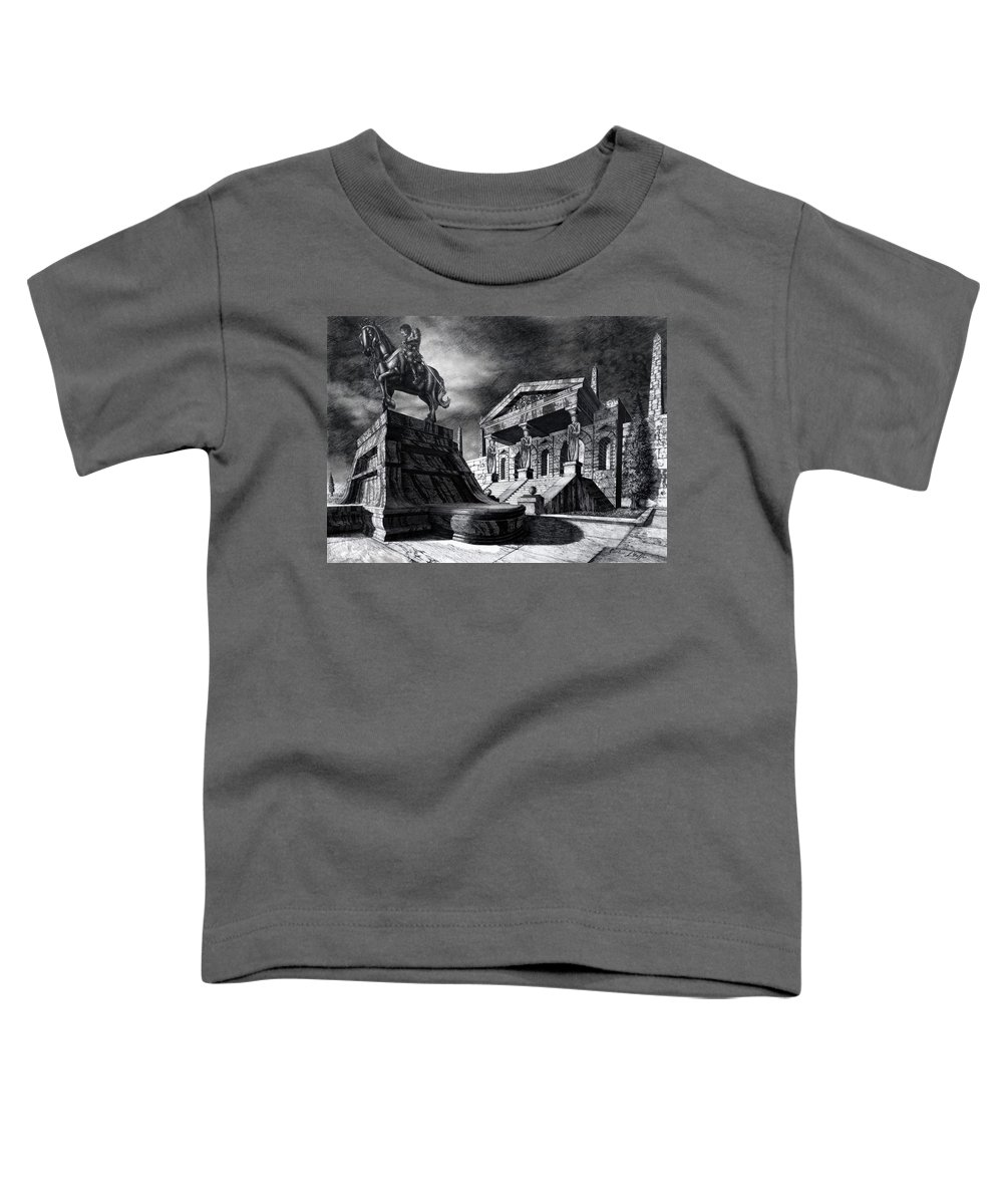 Greek Architecture Toddler T-Shirt featuring the drawing Temple Of Perseus by Curtiss Shaffer