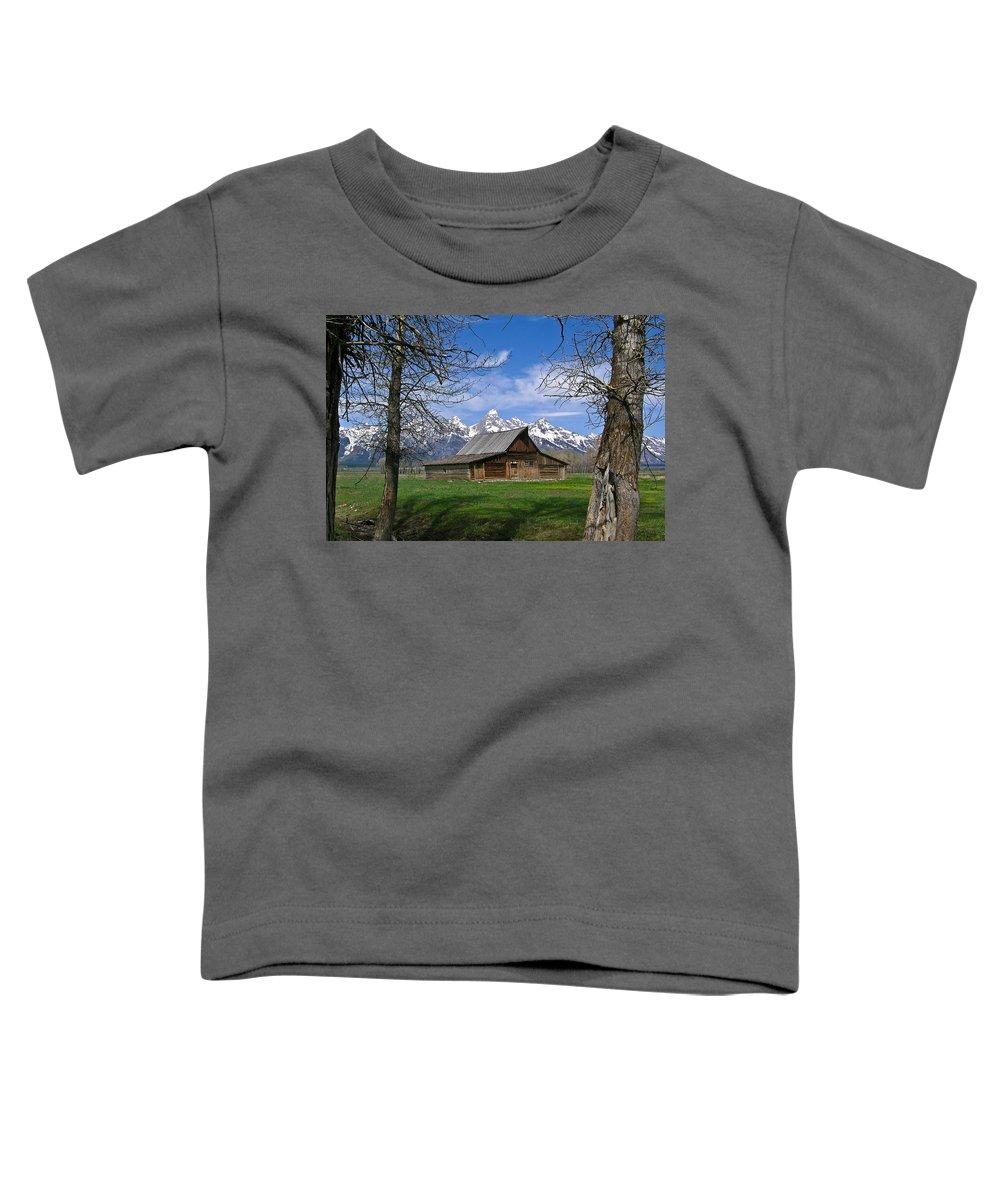 Teton Toddler T-Shirt featuring the photograph Teton Barn by Douglas Barnett