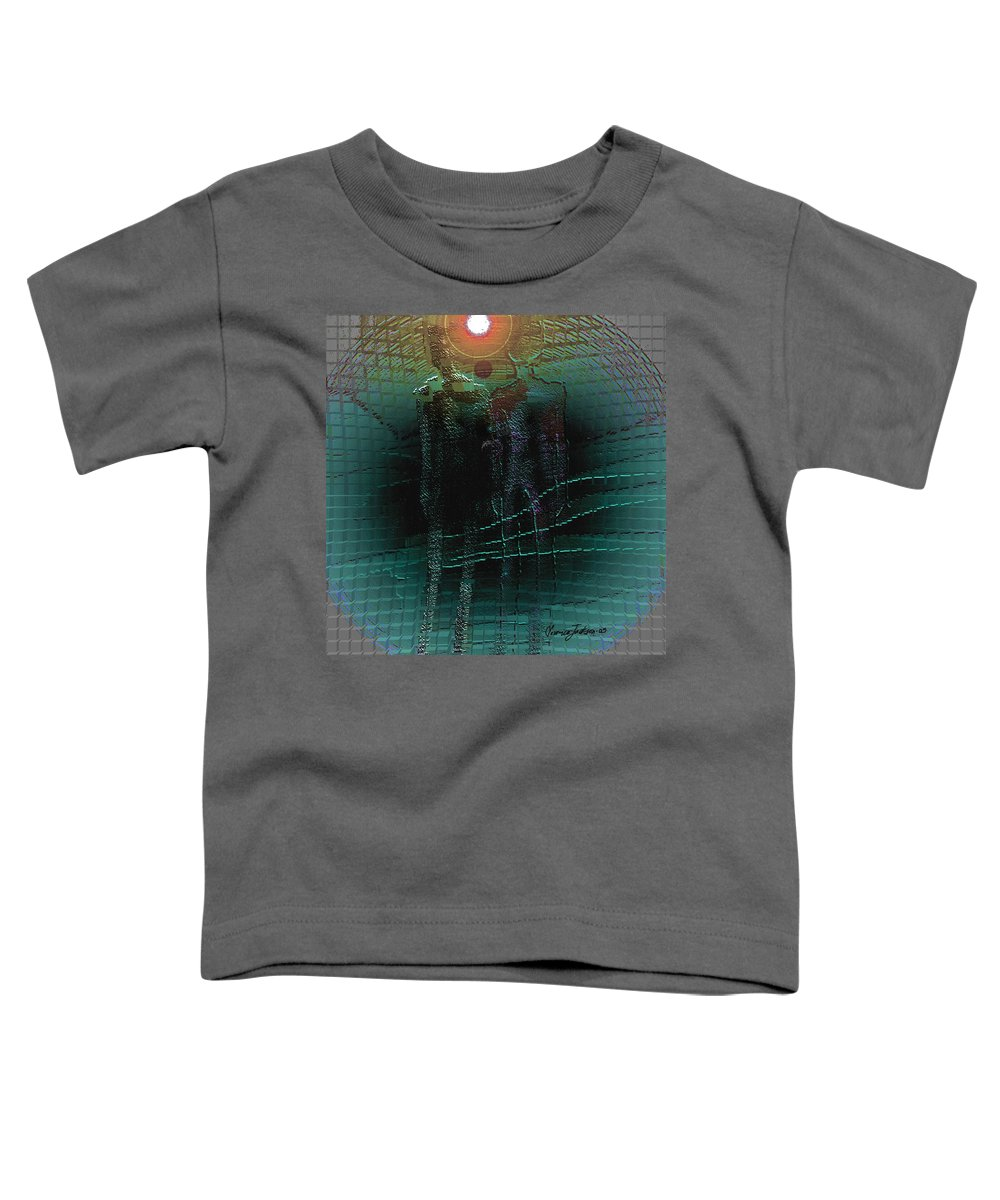People Alien Arrival Visitors Toddler T-Shirt featuring the digital art The Arrival by Veronica Jackson