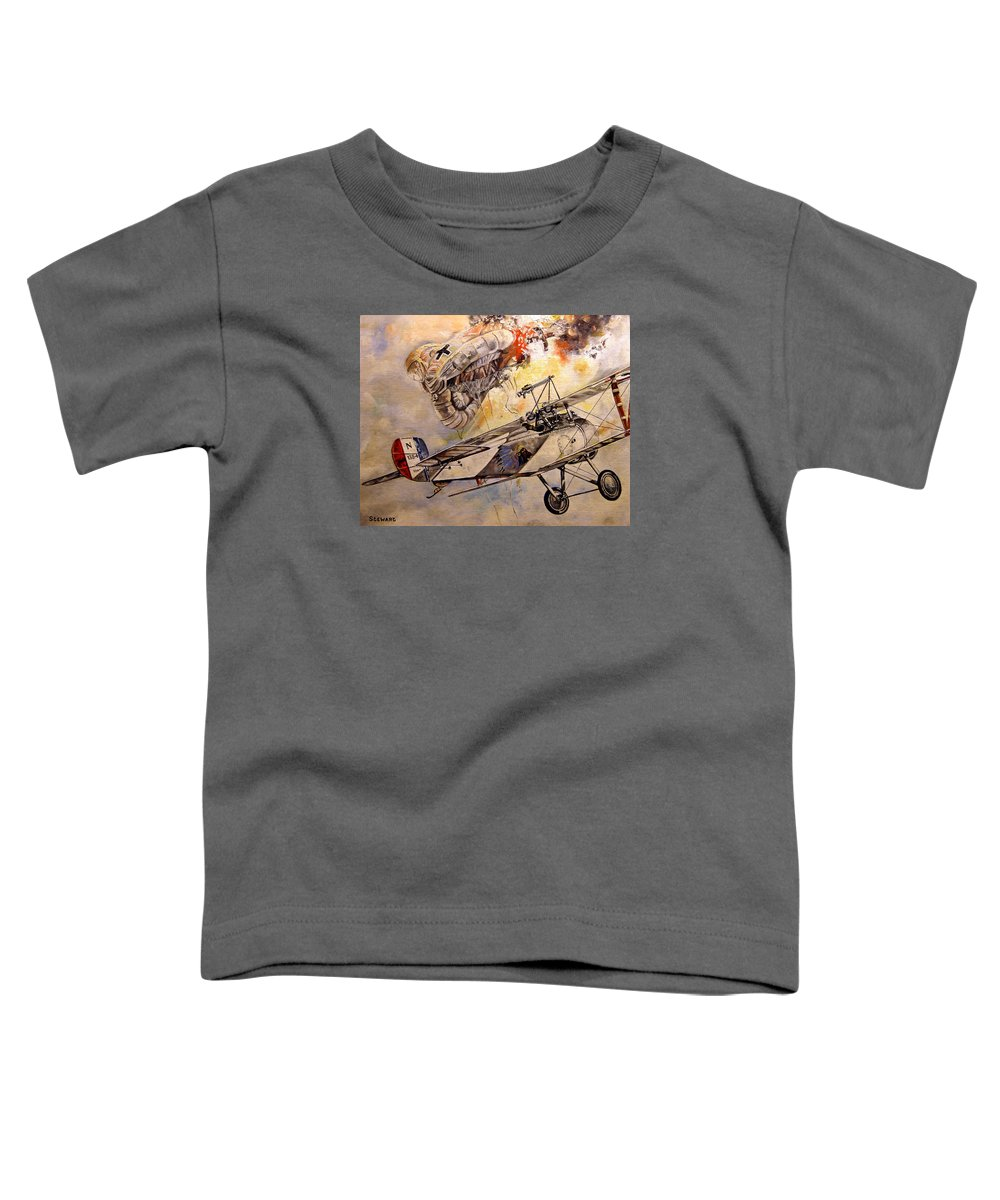 Military Toddler T-Shirt featuring the painting The Balloon Buster by Marc Stewart