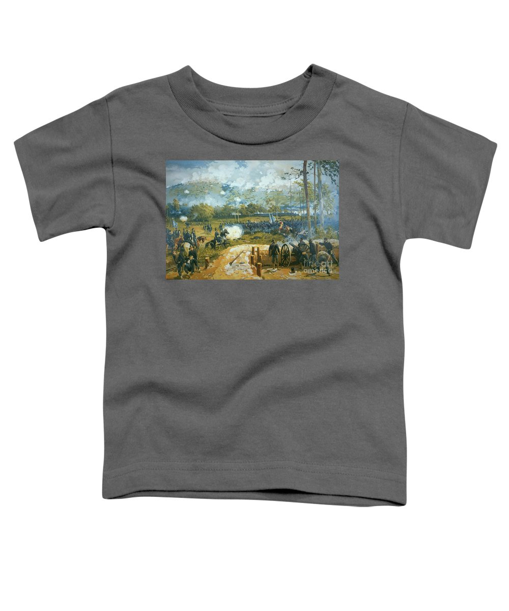 The Battle Of Kenesaw Mountain Toddler T-Shirt featuring the painting The Battle Of Kenesaw Mountain by American School