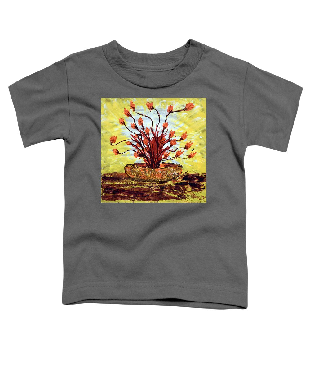Red Bush Toddler T-Shirt featuring the painting The Burning Bush by J R Seymour