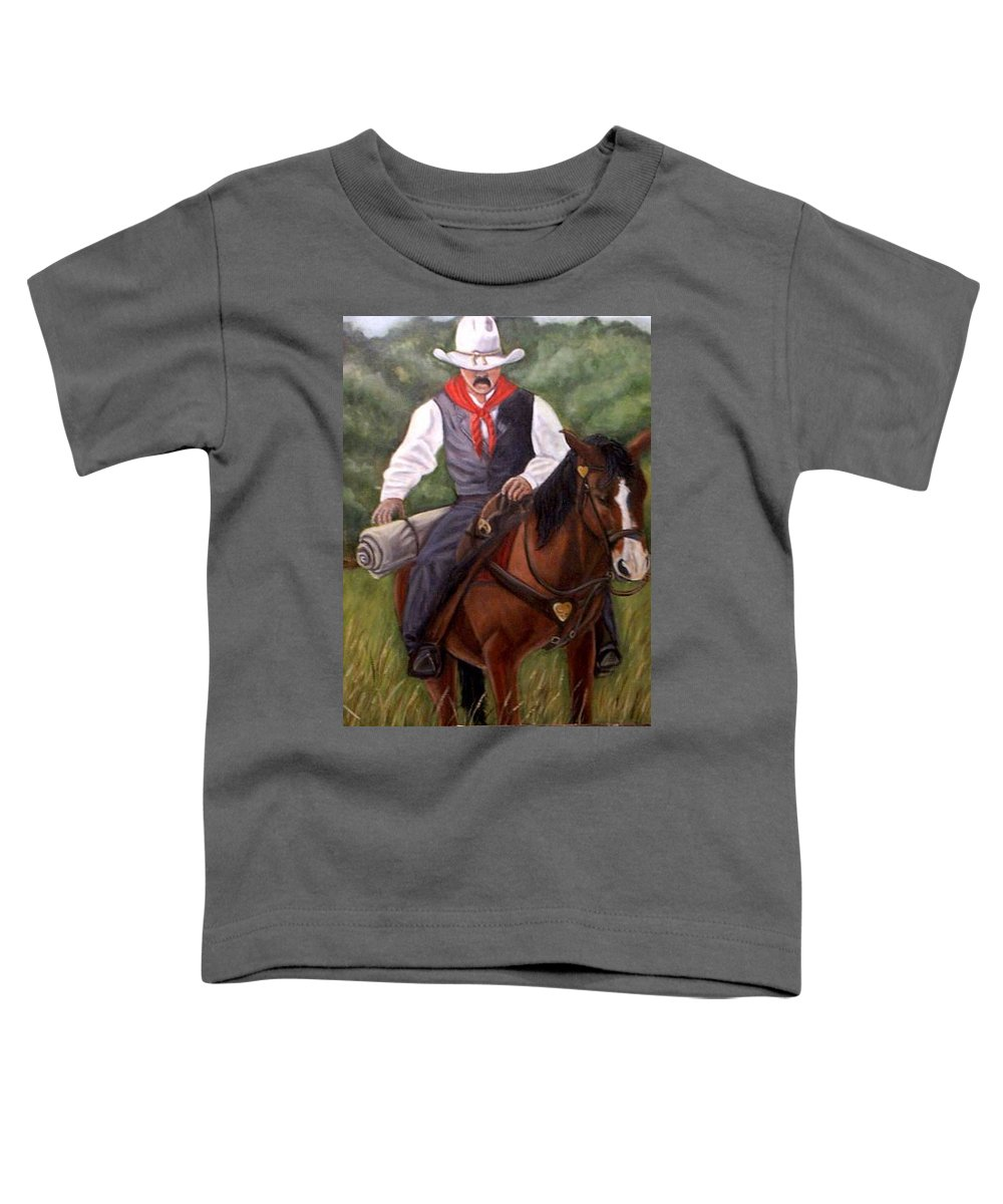 Portrait Toddler T-Shirt featuring the painting The Cowboy by Toni Berry