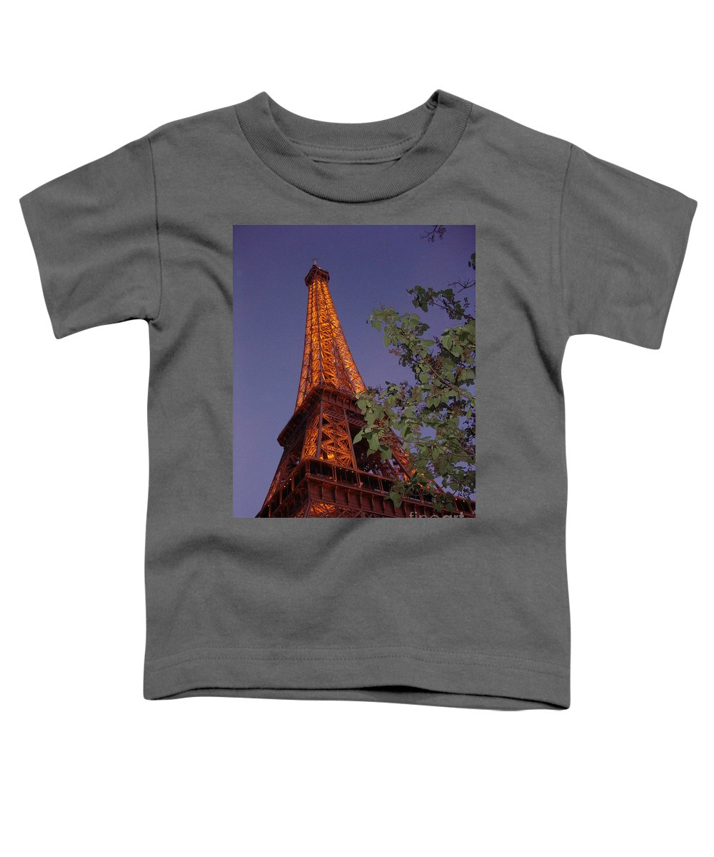 Tower Toddler T-Shirt featuring the photograph The Eiffel Tower Aglow by Nadine Rippelmeyer